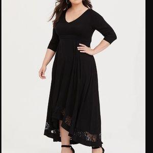 Torrid Black Challis Hi-Lo Maxi Dress Lace Hem
